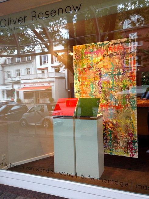 Schaufenster Firma Oliver Rosenow Feine textile Böden in der Maria Louisen Str. 8 in Hamburg