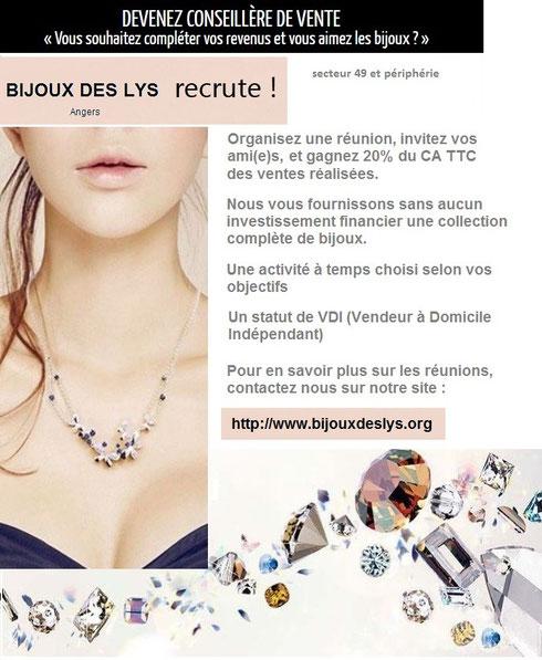 Recrutement VDI bijoux fantaisie - Bijoux des Lys