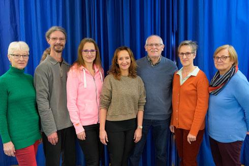 (von links nach rechts): Gabi Schollmeier, Reinhard Kiefer, Viktoria Schendik, Susanne Brenneis-Sehr, Reinhard Nies, Annelore Palme, Gerda Nies.