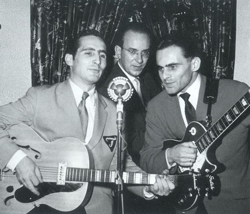 Ladi Geisler(rechts) met Freddy Quinn en Franz Resch in de Tarantella Bar, Hamburg (1954)