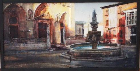 Díptico Plaza Catedral de Burgos.  Acrilico/Tabla.-40x20 cm