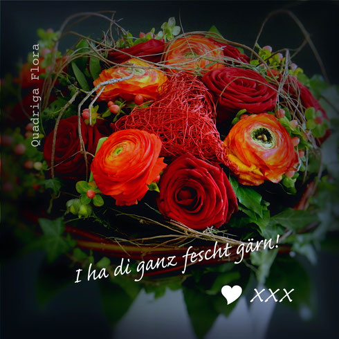 Valentinstag, 14.Februar, Blumengeschäft, rote Rosen, Herz, Mohn, Meggen, Luzern, Strauss, Liebe, Geschenk