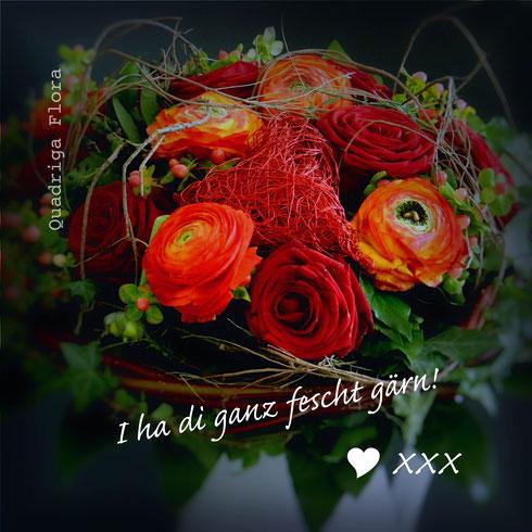 Valentinstag, 14.Februar, Blumengeschäft, rote Rosen, Herz, Ranunkel, Meggen, Luzern, Strauss, Liebe, Geschenk