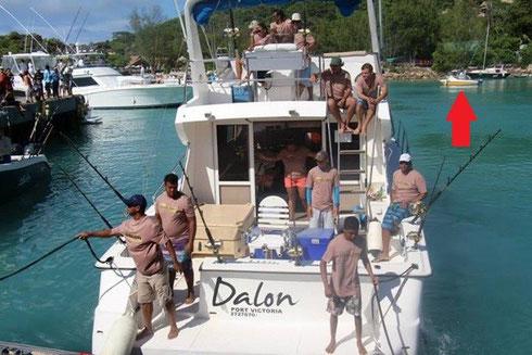 Seychellen angeln La Digue Boot Okt. 2013