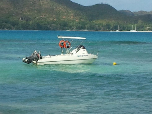 Seychelles fishing small boat for jigging & popping