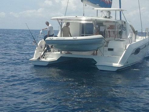 Seychelles fishing Sailfish on Catamaran Dec. 2013