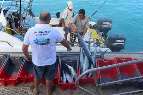 Seychelles fishing La Digue weigh in
