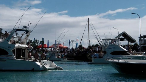 Seychelles fishing La Digue tournament boats sea view