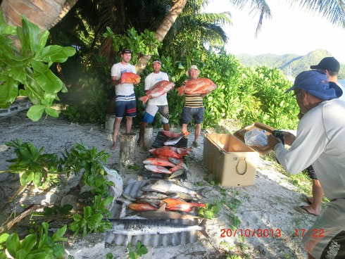Seychelles fishing mixed bottom catch Oct. 2013