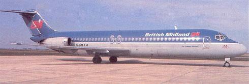 DC-9-Srs32 der British Midland/Postkarte