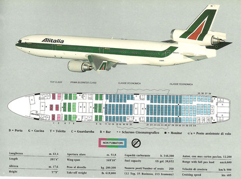 Alitalia MD-11-Sitzplaninformationen/Courtesy: Alitalia