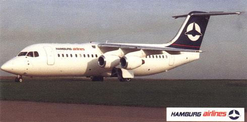 Hamburg Airlines setzten auch BAe 146 ein/Postkarte