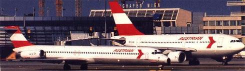 Die MD-80 (vorne) wurden ab 1989 durch Airbus A310 ergänzt/Courtesy: Austrian Airlines