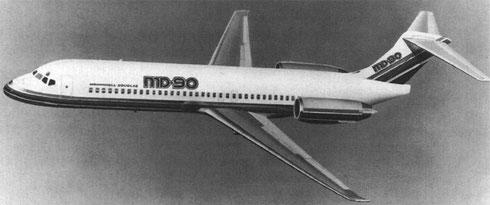 """Frühe Modellgrafik der """"MD-90"""" - dieses Konzept mündete in die MD-87/Courtesy: McDonnell Douglas"""