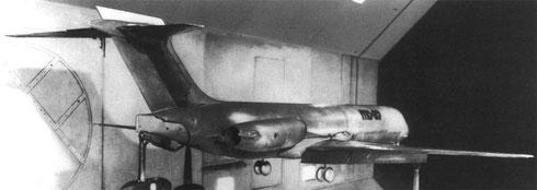 Windtunnell-Model einer MD-87 mit verändertem Heckkonus und Leitwerk!/Courtesy: McDonnell Douglas