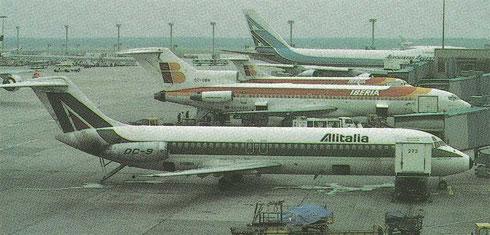 Zwei DC-9 der Alitalia und Iberia sowie eine 727 der Iberia/Courtesy: Flughafen Frankfurt