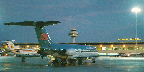 Die DC-9 kamen auch auf Flügen nach Palma de Mallorca zum Einsatz/Postkarte