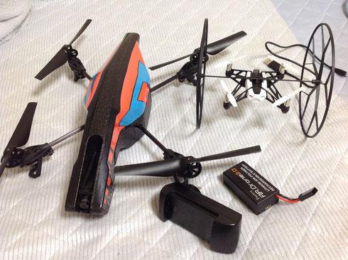 AR.drone2.0とmini.droneのサイズ比較