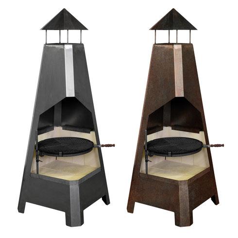 grillen räuchern, braten und feuerschale in einem grill