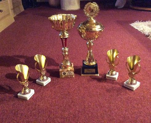 So viele Pokale hat unsere kleine Bharati am Wochenende bekommen!