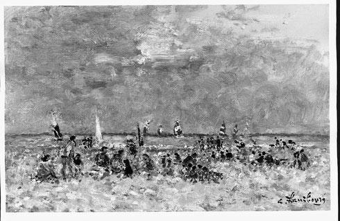 """""""Deauville sur la plage en été"""" 1991  22x35cm  PLD 321"""