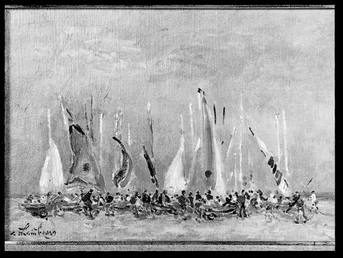 """""""On prépare les Catamarans""""   1990  19x27cm  PLD 263"""