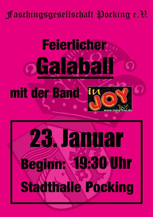 Feierlicher Galaball mit der Band inJoy am 23. Januar 2016 in der Stadthalle Pocking