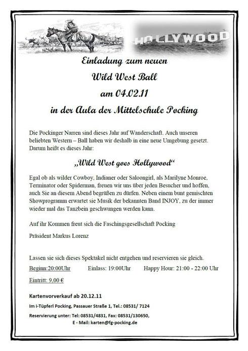 Flyer zum Faschingsball Pocking