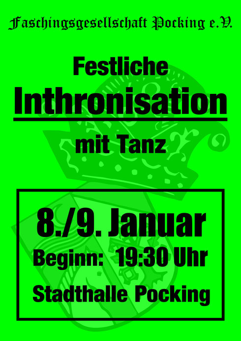 Festliche Inthronisation am 8. und 9. Januar 2016 in der Stadthalle Pocking