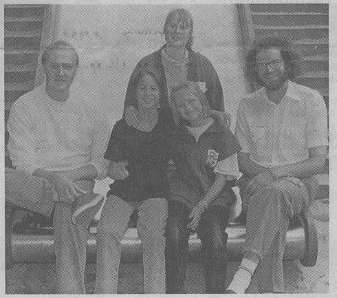 Die Gründer des Kinderforum mit zwei Besuchern: Jörg Blanke (links), Michaela Blanke (damals Schnaidt), Albrecht Ropers - Foto: Lars Strüning