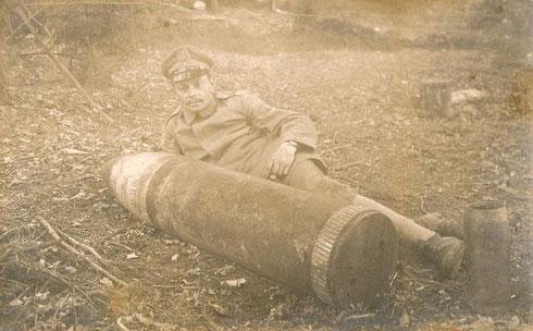 Französischer Minenblindgänger in der Reservestellung am Sattelkopf in den Vogesen 1915
