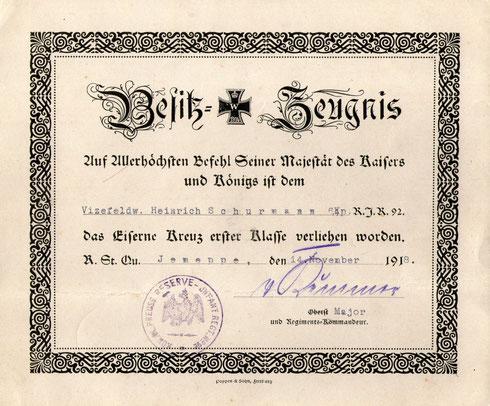 Urkunde Eiserne Kreuz 1. Klasse