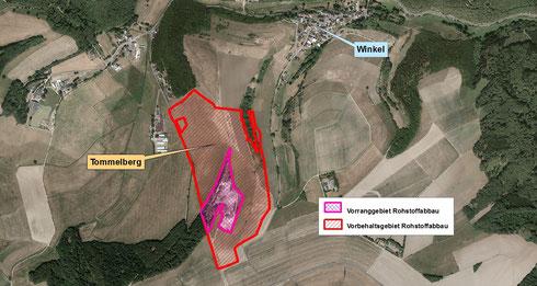 Vorrang- und Vorbehaltsgebiet Rohstoffabbau Tommelberg bei Winkel