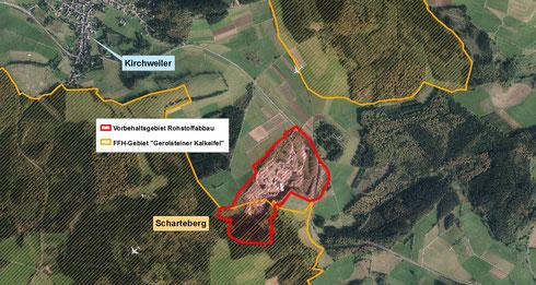 Vorbehaltsgebiet Rohstoffabbau Scharteberg bei Kirchweiler