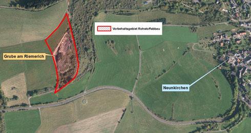 Vorbehaltsgebiet Rohstoffabbau Riemerichgelände bei Daun-Neunkirchen
