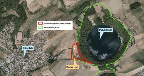 Vorbehaltsgebiet Rohstoffabbau Pulvermaargrube bei Gillenfeld