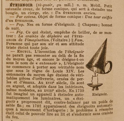 """Définition de """"éteignoir"""" - Le Larousse en 6 volumes - 1935 (Source : Mr Jean NISOL, Dour)"""