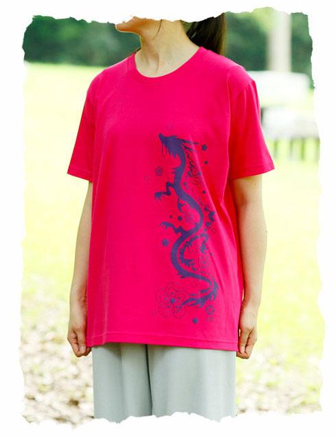 太極拳Tシャツ 龍 ラズベリー