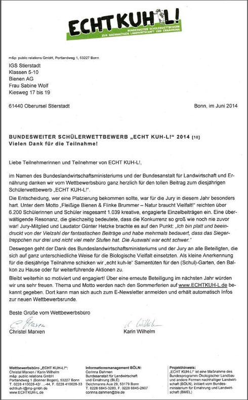 Urkunde Echt Kuh-L