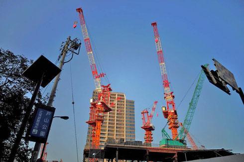 戸山公園はこの建設中のマンションが目印だよ♪