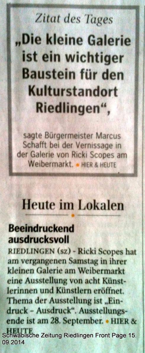 rickisworkshop im Zitat des Tages Schwäwbische Zeitung 15.09.2014