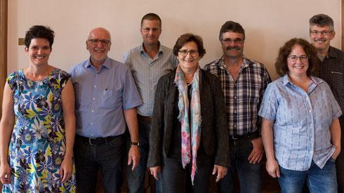 Vorstand der EDU Schaffhausen (vlnr): Andreas Schnetzler,  Erwin Sutter, Brigitte Bührer, Beat Brunner, Manuela Heller, Dr. Werner Furrer, Peter Schulthess