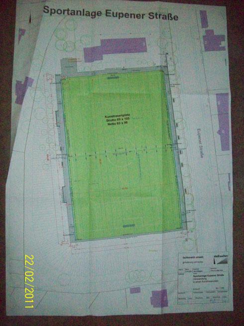 Plan des Kunstrasenplatzes Sportplatz Eupener Straße