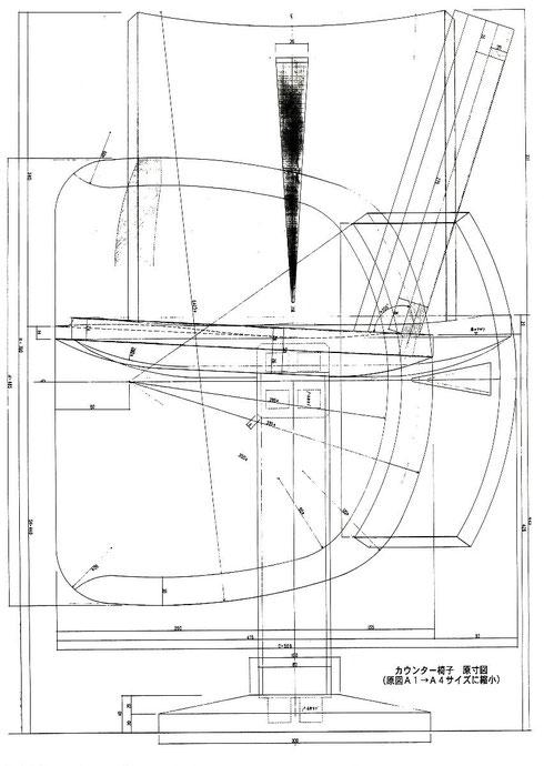 カウンター椅子 原寸図