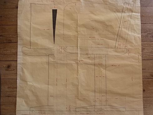 カウンター椅子 製作原寸図