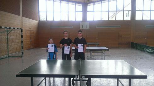 Die drei Erstplatzierten v.l.n.r.: Lukas Zürn (3.), Maxi Interwies (1.) und Florian Lazi (2.)