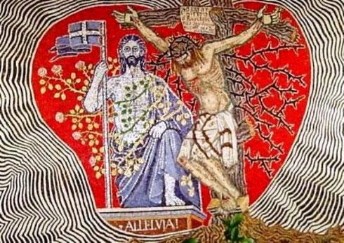Mosaik in der Beichtkapelle der Wallfahrtskirche der Passionisten in San Gabriele (Abruzzen) in Italien