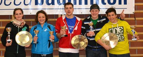 Sieger und Schweizermeister in den Kategorien Damen-Doppel, Mixed und Herren-Doppel (Foto: Schenker)