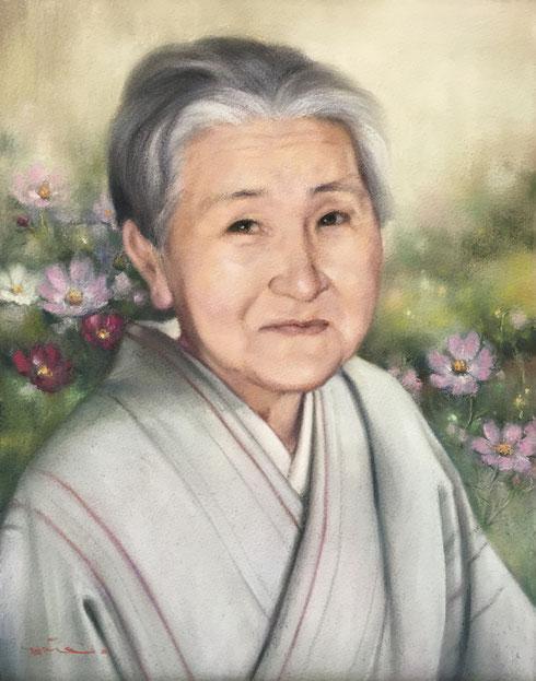 肖像画 パステル画 肖像画札幌 パステル画教室 絵画 コスモス パステル肖像画