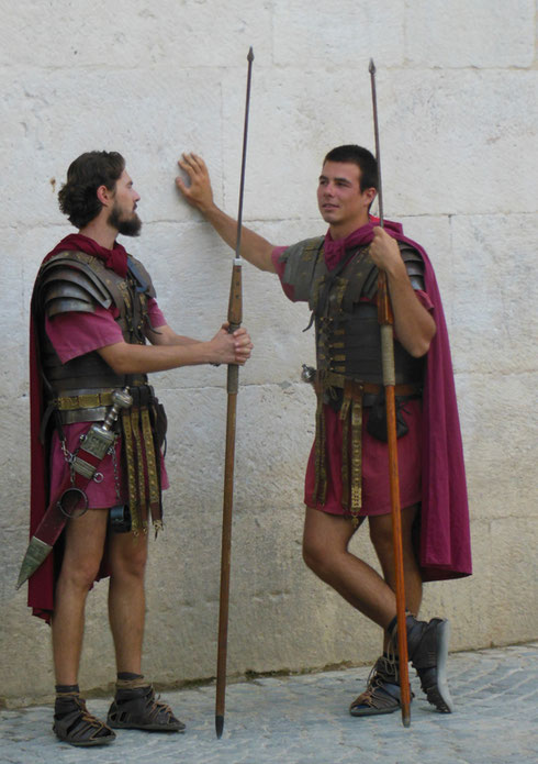 Roman Soldiers Pose for the Tourists by the Golden Gate at Diocletian's Palace in Split